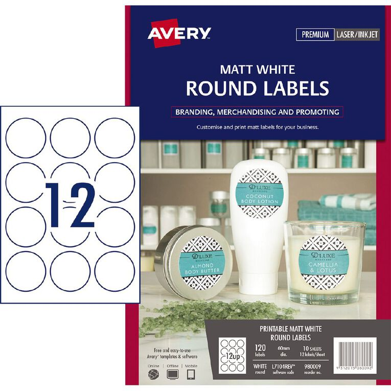 Avery Removable Round Labels White 60mm Diameter 120, , hi-res