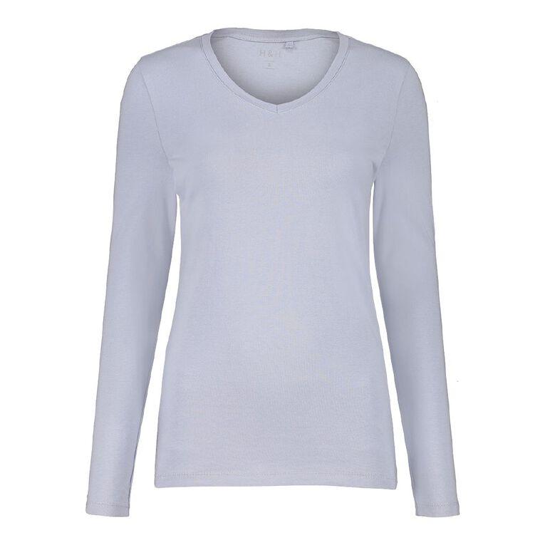 H&H Women's Long Sleeve V Neck, Blue Light, hi-res