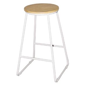 Living & Co Stool Metal White Leg with Wooden Top