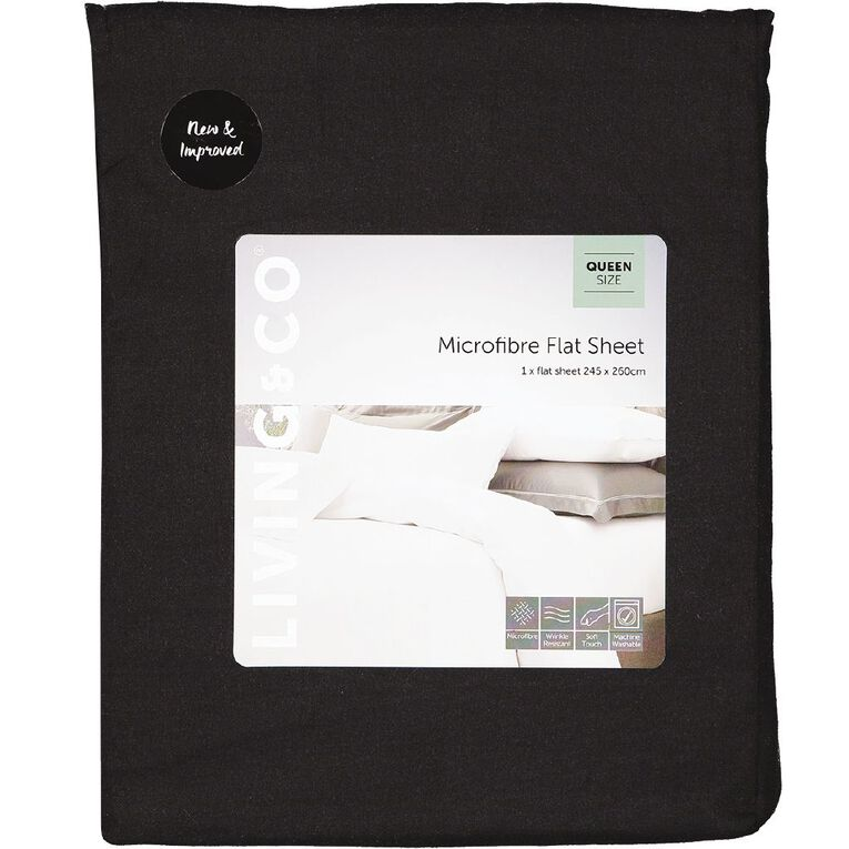 Living & Co Sheet Flat Microfibre Black King, Black, hi-res image number null