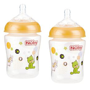 Nuby Wide Neck Bottle 270ml Assorted 2 Pack