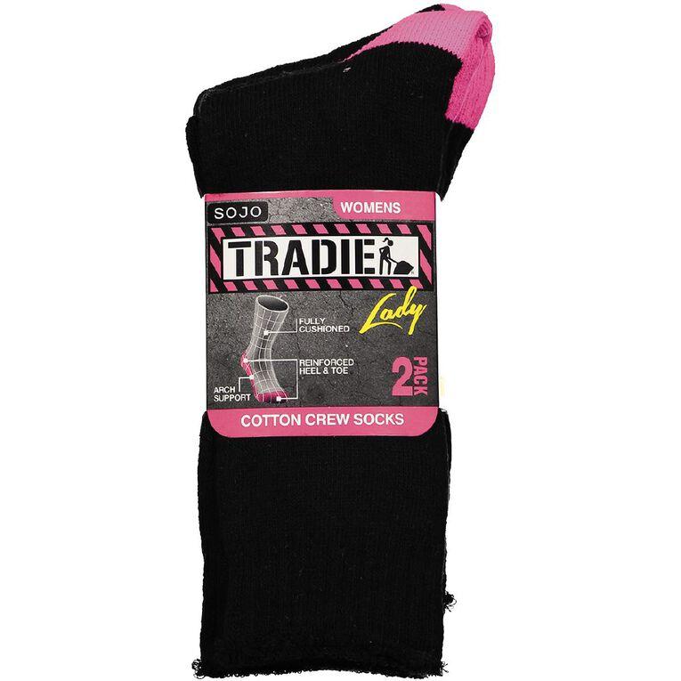 Tradie Women's Crew Socks 2 Pack, Black, hi-res