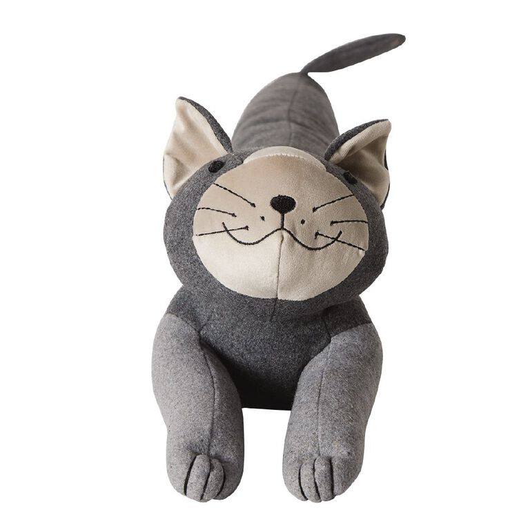 Living & Co Cat Draught Stopper Charcoal 88cm x 16cm x 20cm, Charcoal, hi-res