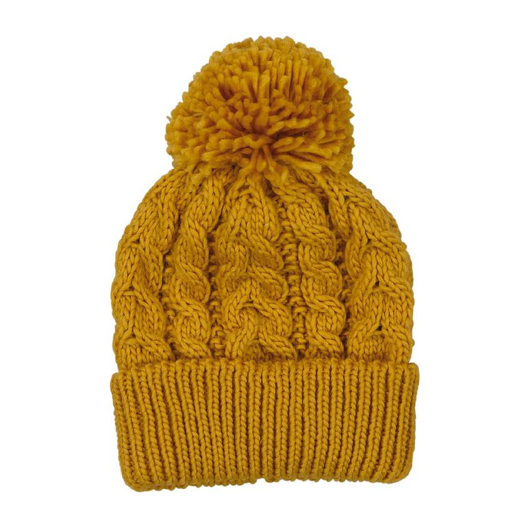 Young Original Girls' Cable Knit Beanie, Yellow, hi-res