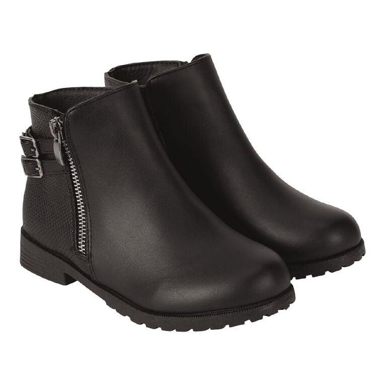 Young Original Zip Flat Boots, Black, hi-res