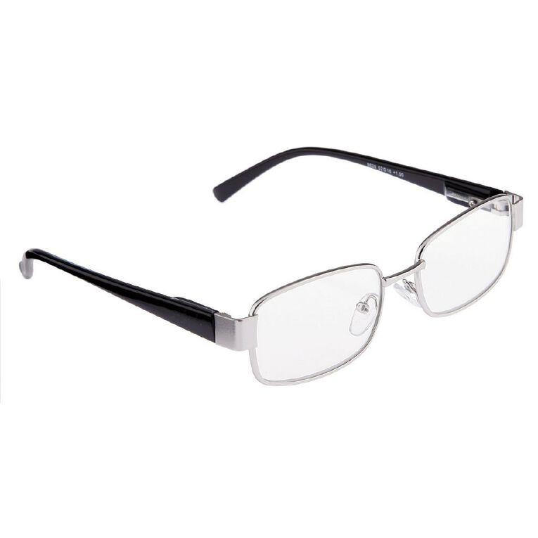 Focus Reading Glasses Men's Square Metal Power 1.00, , hi-res