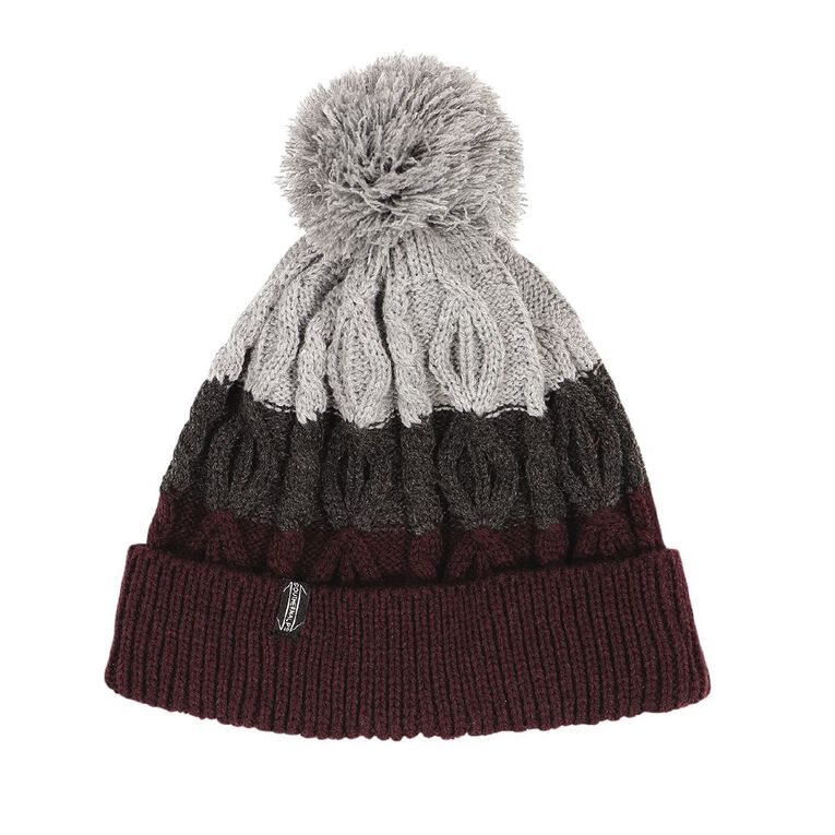 H&H Men's 3 Colour Cable Beanie, Burgundy, hi-res