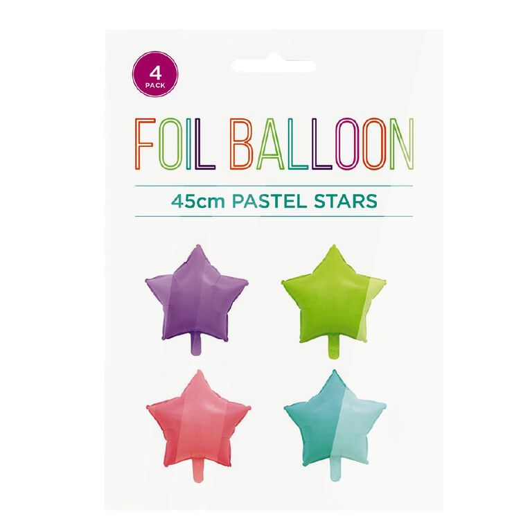 Pastel Foil Balloons Stars 45cm Multi-Coloured 4 Pack, , hi-res