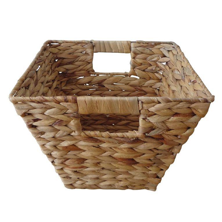 Living & Co Water Hyacinth Square Basket Natural Small, , hi-res