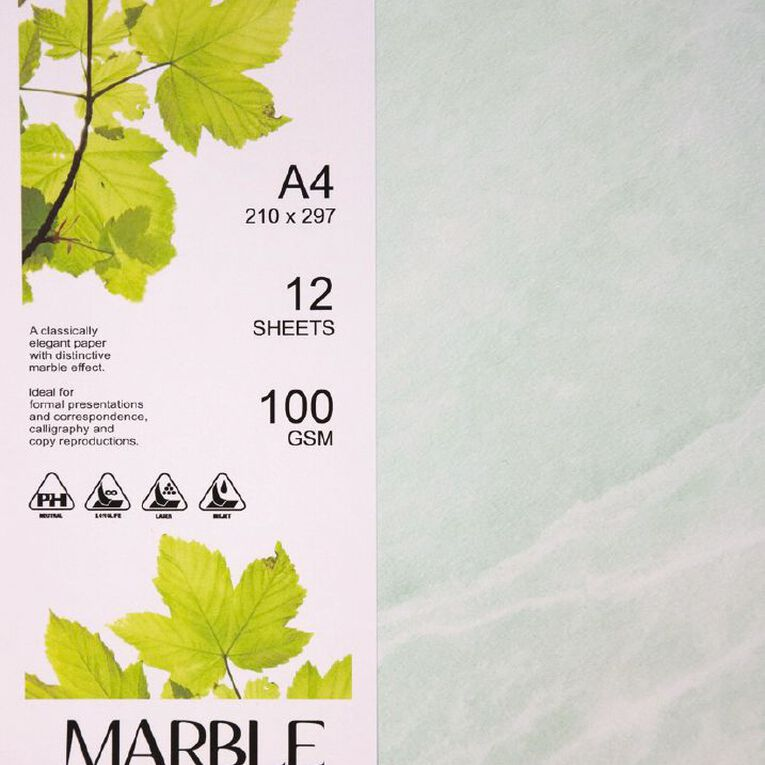 Direct Paper Marble Paper 100gsm 12 Pack Green A4, , hi-res