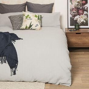Living & Co Duvet Cover Set Luxury Waffle Grey Queen