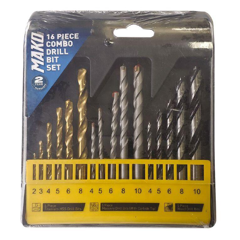 Mako 16 Piece Combination Drill Set, , hi-res
