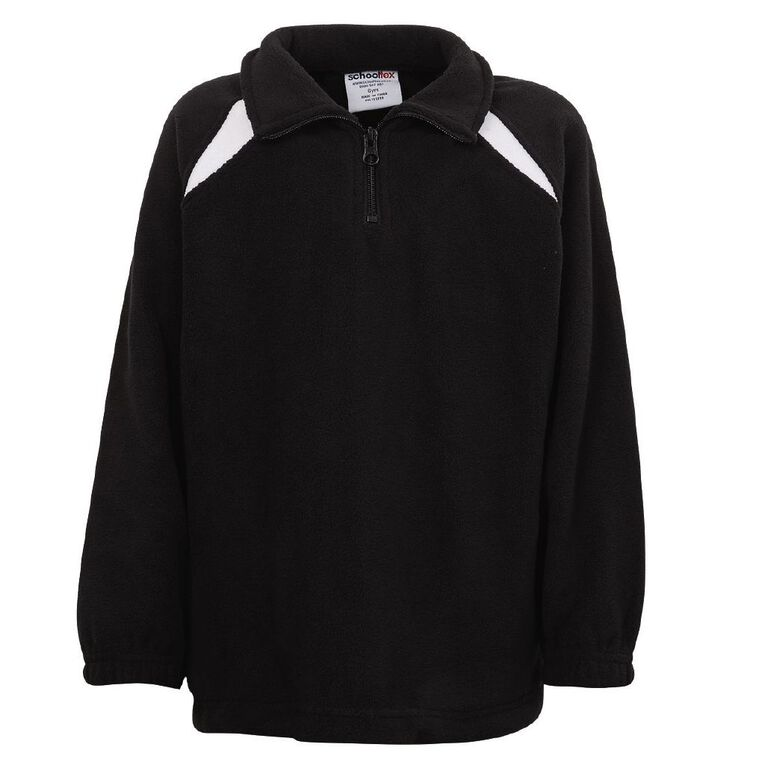 Schooltex Kids' 1/2 Zip Microfleece Top, Black/White, hi-res