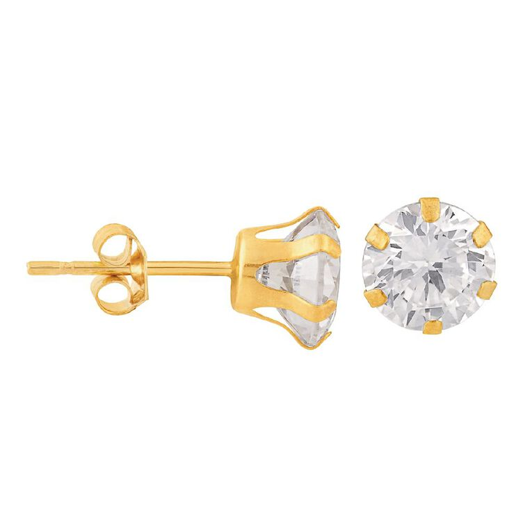 9ct Gold CZ 6 Claw Stud 6mm Earrings, , hi-res
