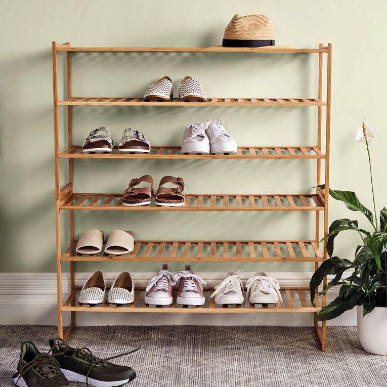 Living & Co Bamboo Stackable Shoe Rack 3 Tier, , hi-res