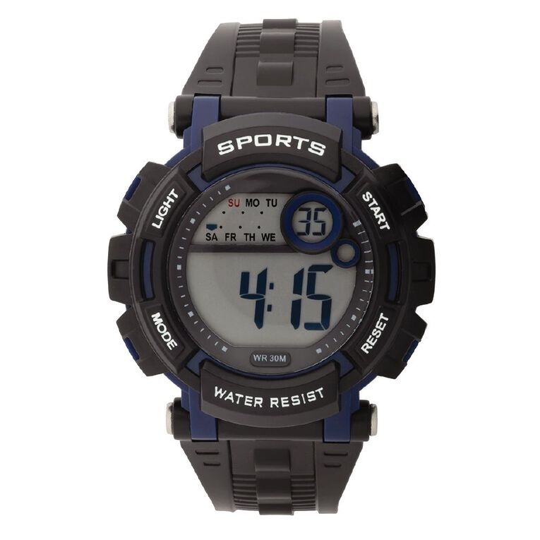 Active Intent Sports Digital Watch Silicone Strap Black & Navy, , hi-res
