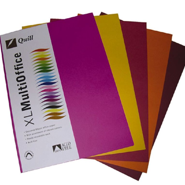Quill Coloured Paper 80gsm 100 Pack Hot A4, , hi-res image number null