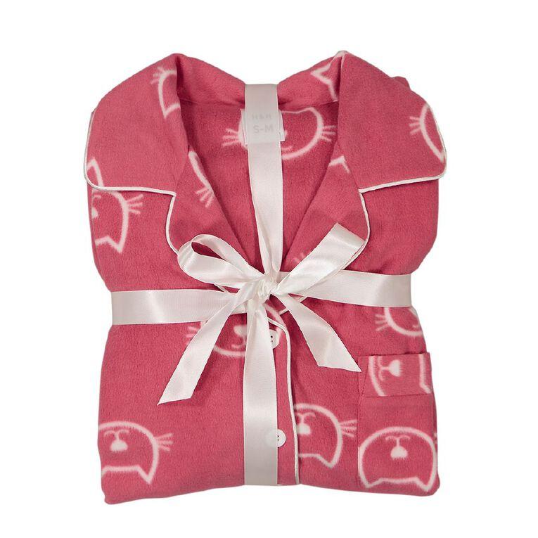 H&H Women's Fleece Pyjamas, Pink Mid, hi-res