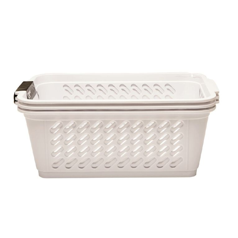 Living & Co Storage Basket Small White 3 Pack, , hi-res