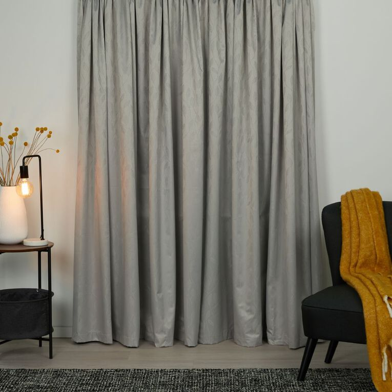Living & Co Willow Curtains Grey Light 230-330cm Wide/160cm Drop, Grey Light, hi-res
