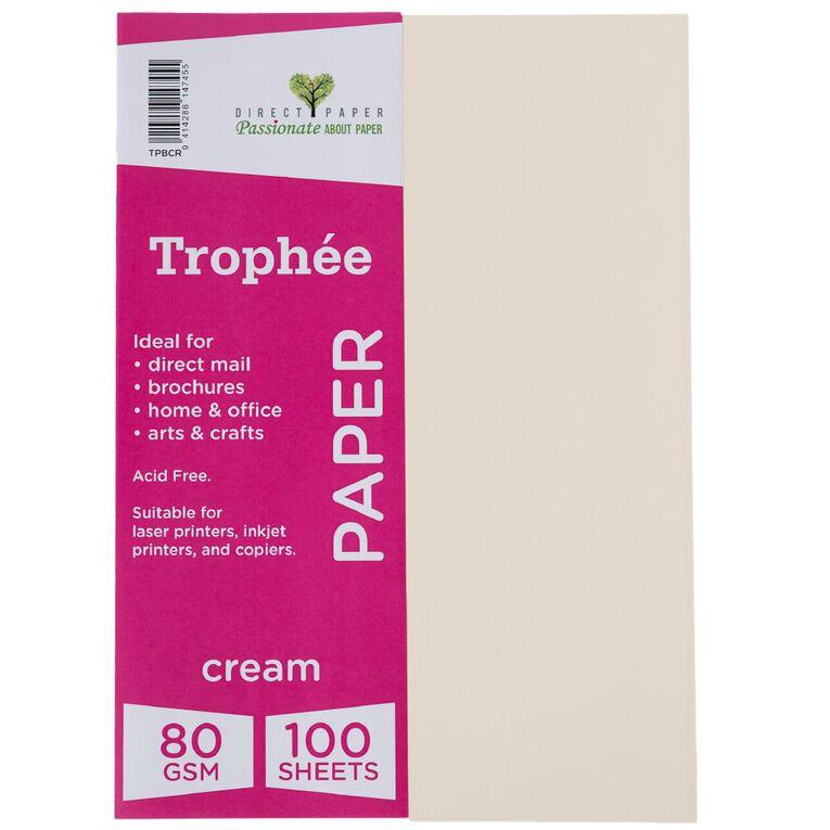 Trophee Paper 80gsm 100 Pack Cream A4, , hi-res