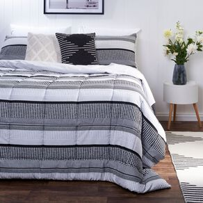 Living & Co Comforter Set 3 Piece Stripe Grey