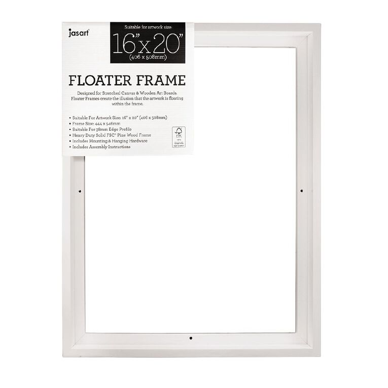 Jasart Floater Frame Thick Edge 16x20 Inches White, , hi-res