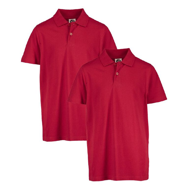 Young Original Kids' 2 Pack Plain Polo, Red, hi-res