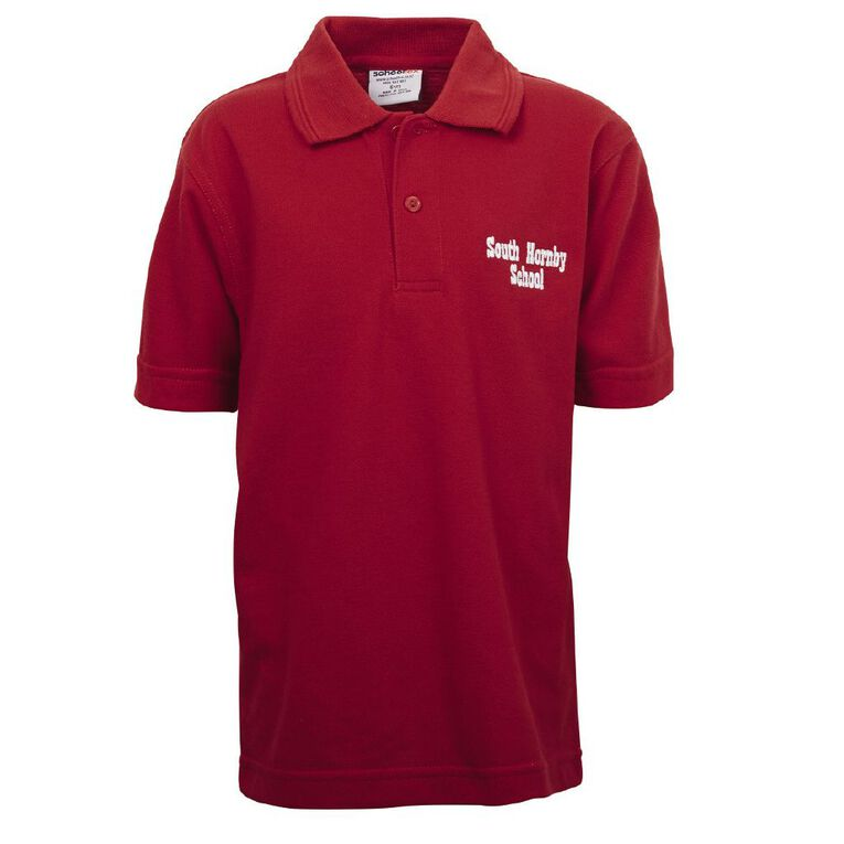 Schooltex South Hornby Short Sleeve Polo with Embroidery, Red, hi-res
