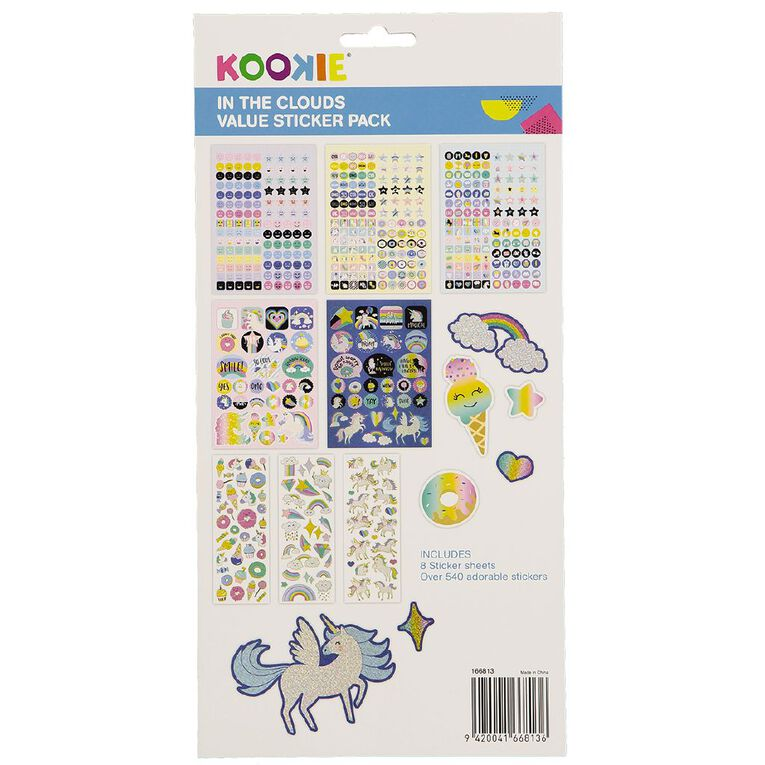Kookie Sticker Value Pack 8 Sheets In the Clouds, , hi-res