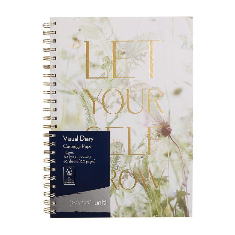 Uniti Platinum Visual Diary Spiral Let Your Self Grow A4, , hi-res
