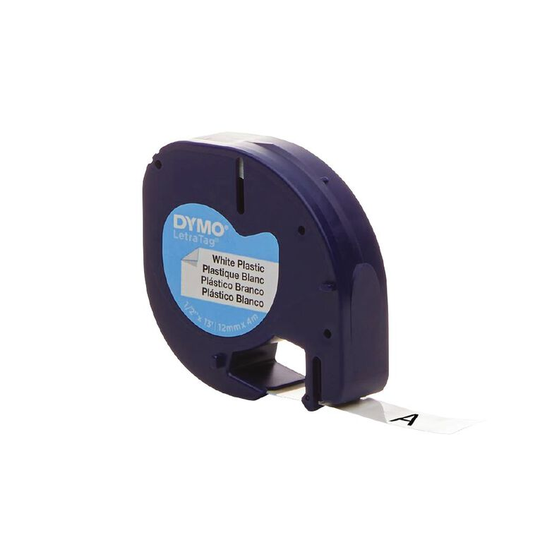 Dymo Letratag Plastic Tape 12mm x 4m Pearl, , hi-res