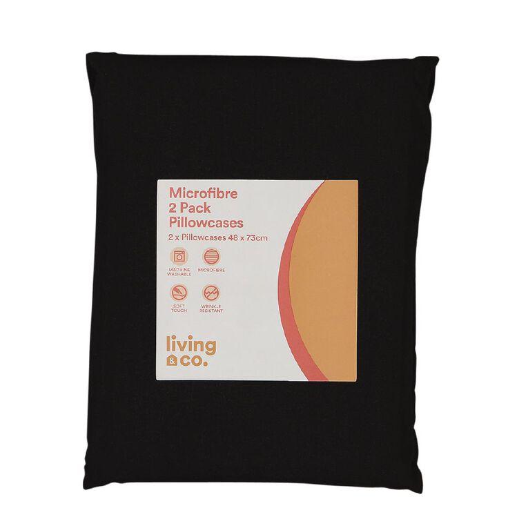 Living & Co Pillowcase Standard Microfibre 2 Piece Black 48cm x 73cm, Black, hi-res