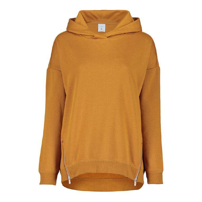 H&H Women's Long Sleeve Fleece Zip Detail, Yellow Dark, hi-res