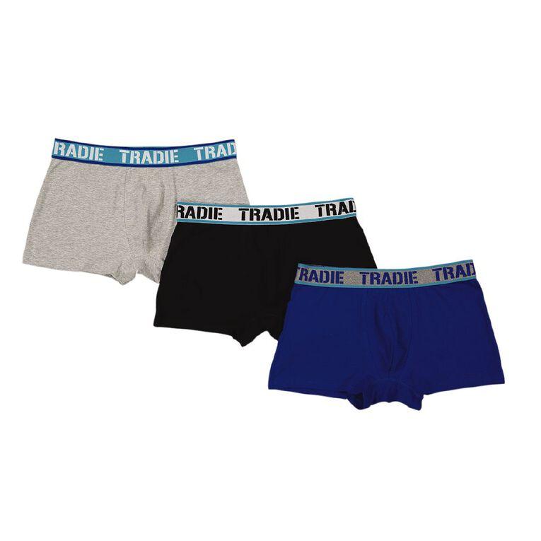 Tradie Men's Trunks 3 Pack, Blue, hi-res