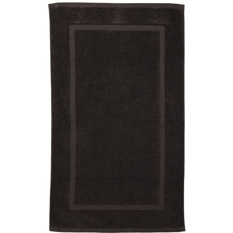 Living & Co Montreal Bath Mat Black 50cm x 80cm, Black, hi-res
