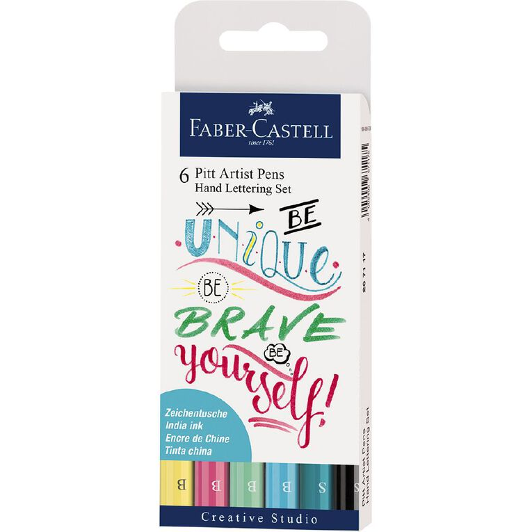 Faber-Castell Pitt Artist Pens Hand Lettering Set Pastel 6 Pack, , hi-res