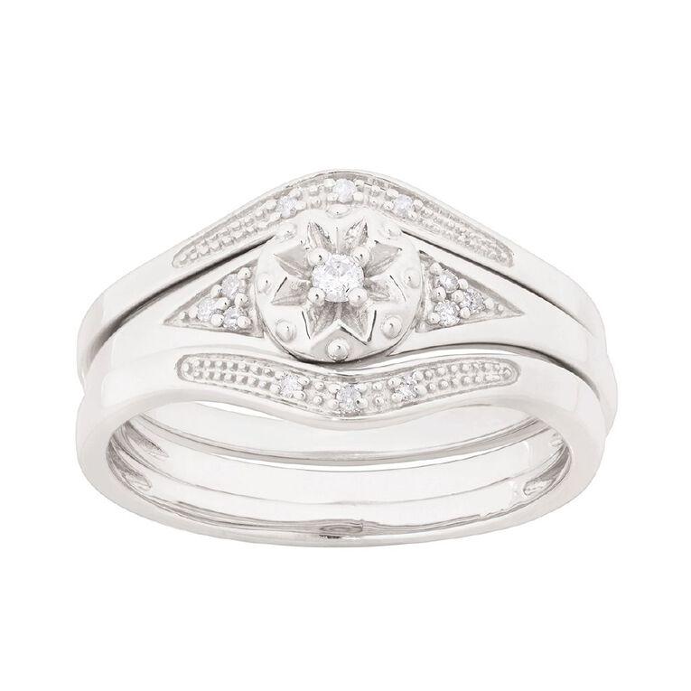 0.08 Carat Diamond Sterling Silver Trio Ring, Sterling Silver, hi-res