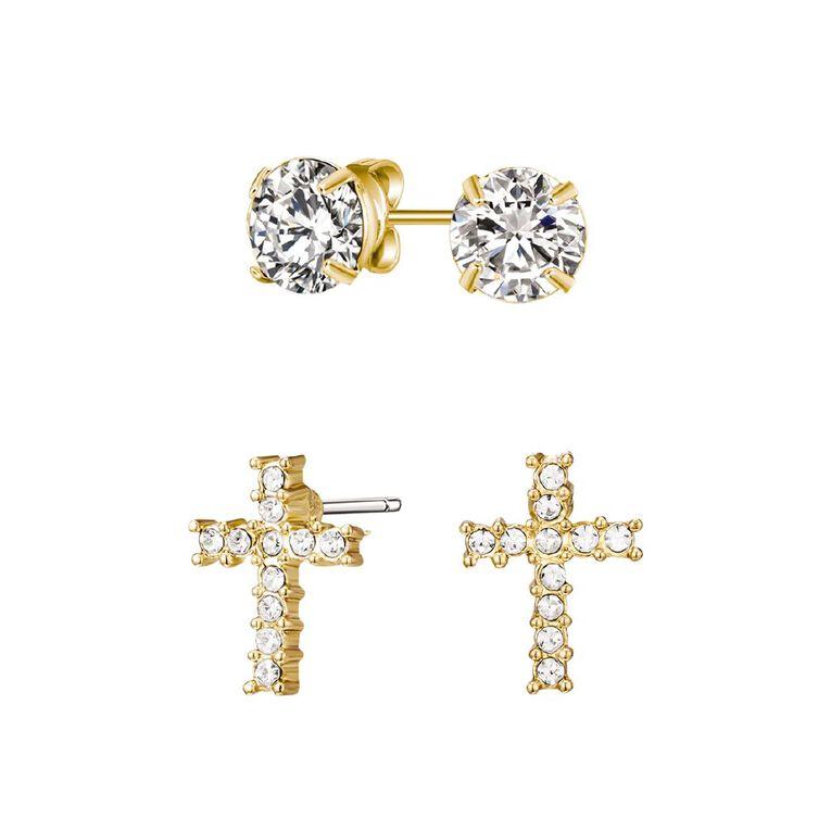 Mestige Gold Plated Cross Set with Swarovski Crystals, , hi-res