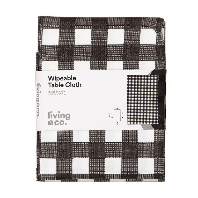 Living & Co Table Cloth Plastic Black/White 178cm x 132cm, , hi-res