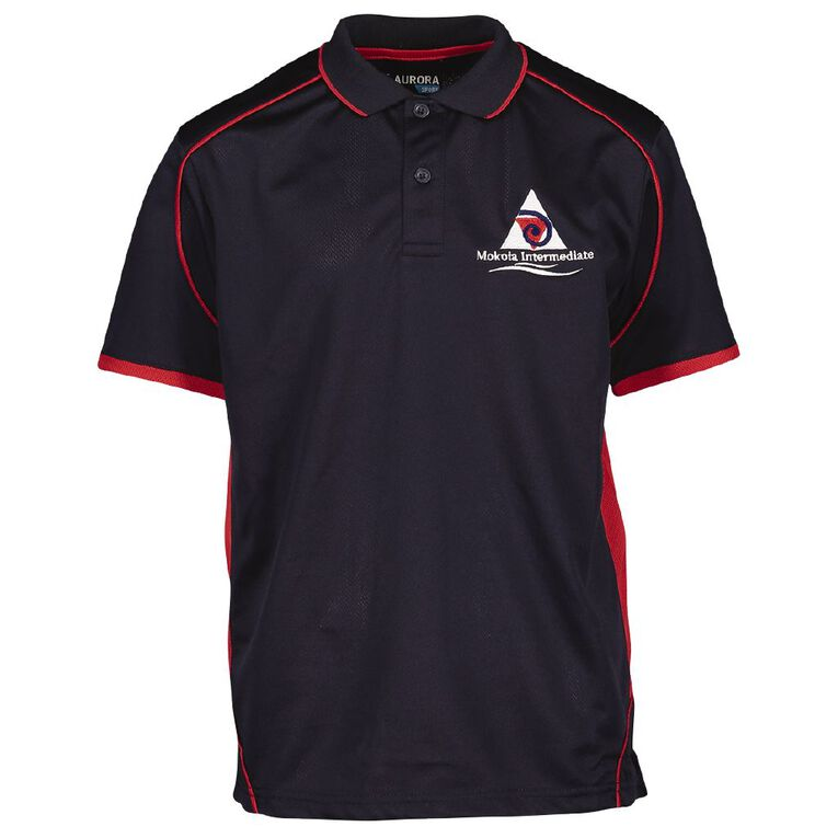 Schooltex Mokoia Intermediate Short Sleeve Polo with Embroidery, Navy/Red, hi-res