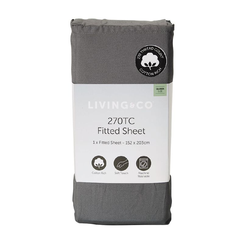 Living & Co Sheet Fitted Cotton Rich 270 Thread Count Charcoal Single, Charcoal, hi-res