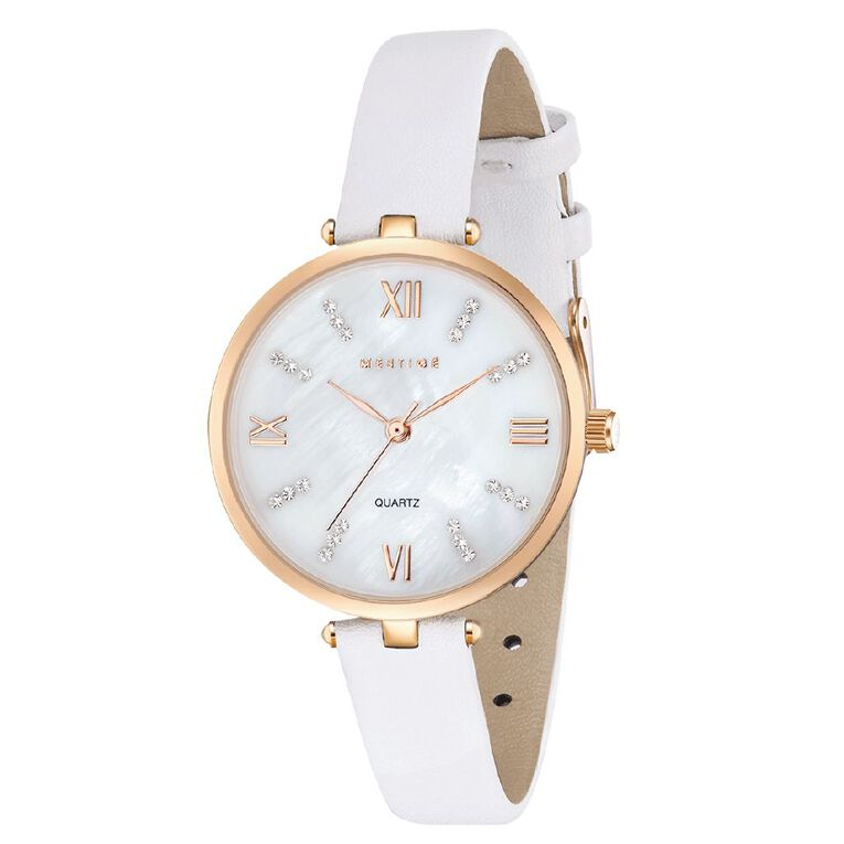 Mestige Grace in White with Swarovski Crystals Gold Plated, , hi-res image number null