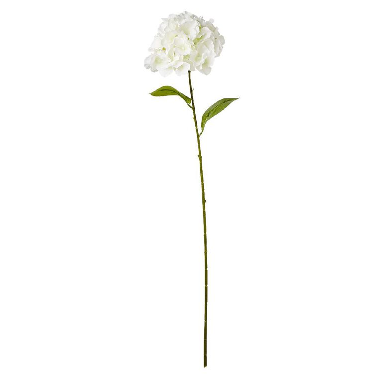 Living & Co Artificial Hydrangea Stem 80cm White, , hi-res