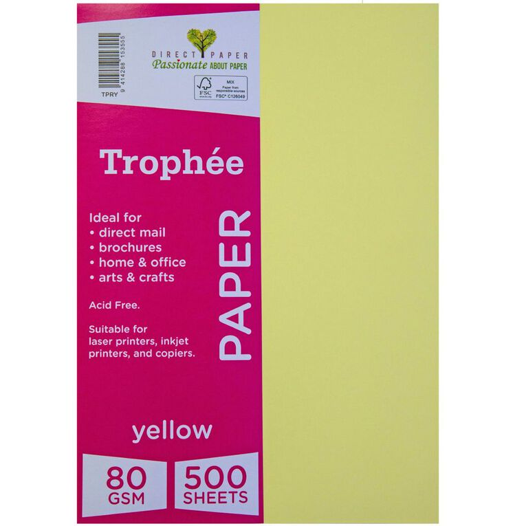 Trophee Paper 80gsm 500 Pack Yellow A4, , hi-res