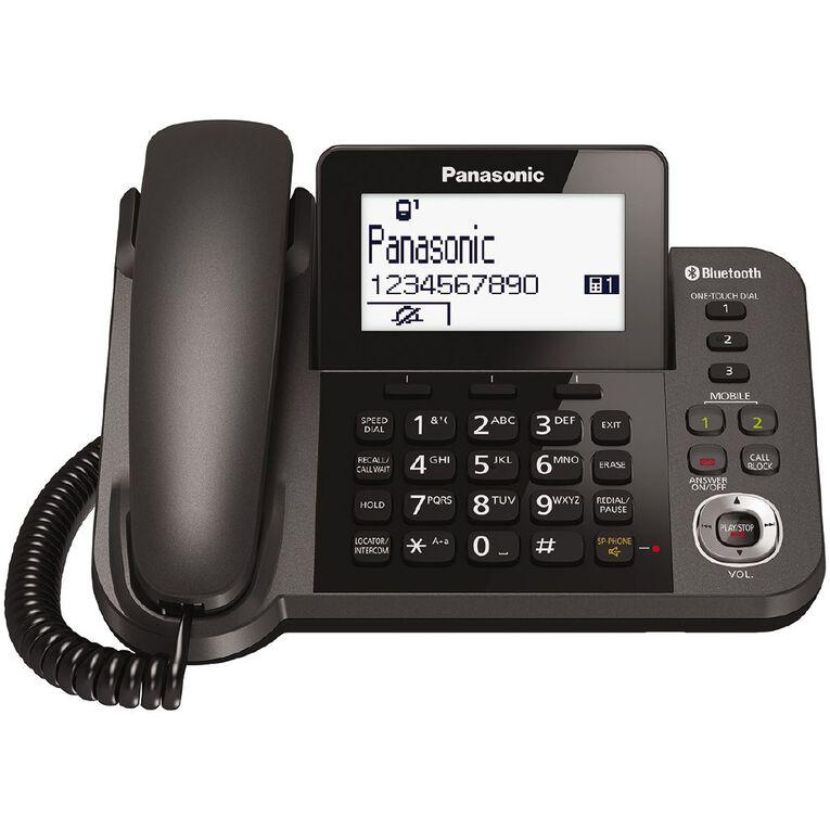 Panasonic KX-TGF380AZM Dual Corded/Cordless Handset Black Black, , hi-res