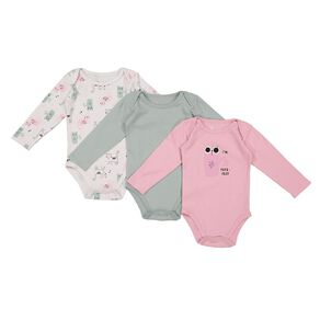 Young Original Baby 3 Pack Long Sleeve Bodysuits
