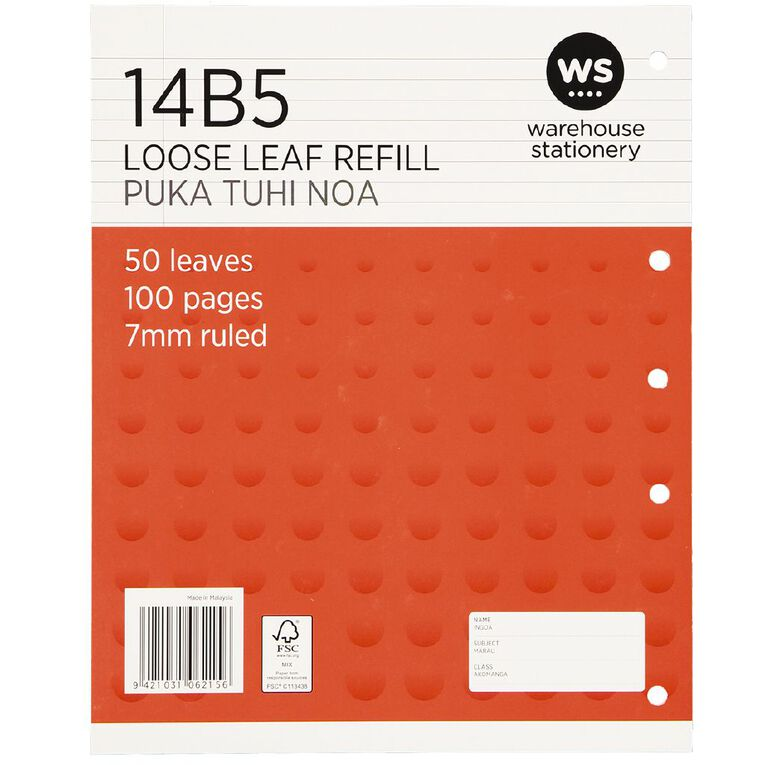 WS Pad Refill 14B5 7mm Ruled 50 Leaf Red, , hi-res