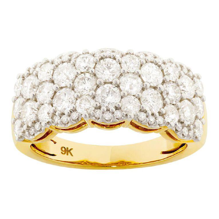 2.00 Carat Diamond 9ct Gold Dress Ring, Yellow Gold, hi-res