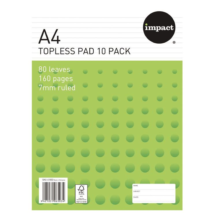 Impact Pad Topless 55gsm 7mm 80 Leaf 10 Pack White, , hi-res